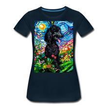 Load image into Gallery viewer, Black Poodle Night 2 Women's Premium T-Shirt - deep navy