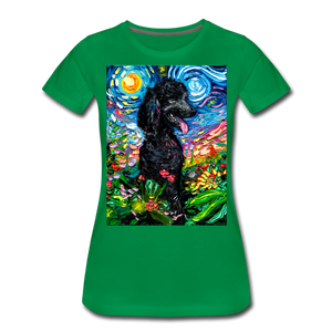 Black Poodle Night 2 Women's Premium T-Shirt - kelly green