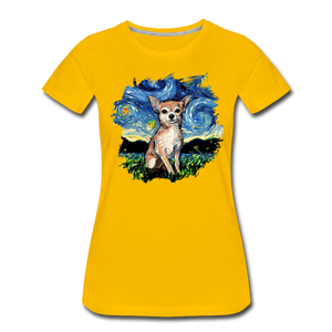 Chihuahua Night Splash Women's Premium T-Shirt - sun yellow