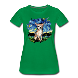 Chihuahua Night Splash Women's Premium T-Shirt - kelly green
