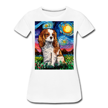 Load image into Gallery viewer, Blenheim Spaniel Night Women's Premium T-Shirt - white