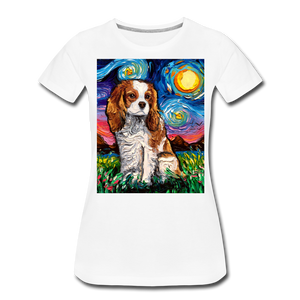 Blenheim Spaniel Night Women's Premium T-Shirt - white