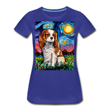 Load image into Gallery viewer, Blenheim Spaniel Night Women's Premium T-Shirt - royal blue