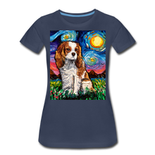 Load image into Gallery viewer, Blenheim Spaniel Night Women's Premium T-Shirt - navy