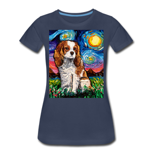 Blenheim Spaniel Night Women's Premium T-Shirt - navy