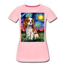 Load image into Gallery viewer, Blenheim Spaniel Night Women's Premium T-Shirt - pink