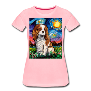 Blenheim Spaniel Night Women's Premium T-Shirt - pink