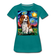 Load image into Gallery viewer, Blenheim Spaniel Night Women's Premium T-Shirt - teal
