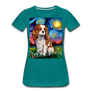 Blenheim Spaniel Night Women's Premium T-Shirt - teal