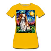 Load image into Gallery viewer, Blenheim Spaniel Night Women's Premium T-Shirt - sun yellow