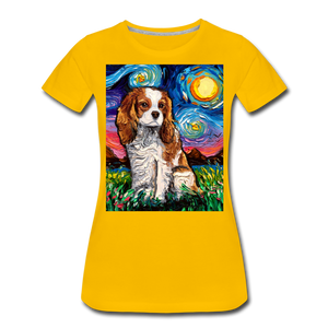 Blenheim Spaniel Night Women's Premium T-Shirt - sun yellow