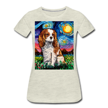 Load image into Gallery viewer, Blenheim Spaniel Night Women's Premium T-Shirt - heather oatmeal