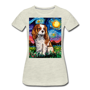 Blenheim Spaniel Night Women's Premium T-Shirt - heather oatmeal