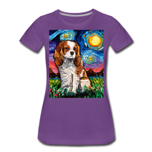 Load image into Gallery viewer, Blenheim Spaniel Night Women's Premium T-Shirt - purple