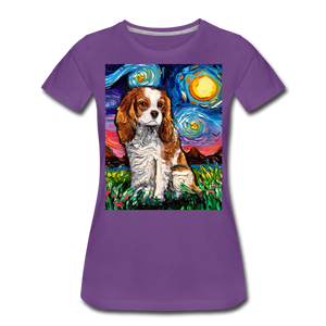 Blenheim Spaniel Night Women's Premium T-Shirt - purple