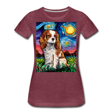 Load image into Gallery viewer, Blenheim Spaniel Night Women's Premium T-Shirt - heather burgundy
