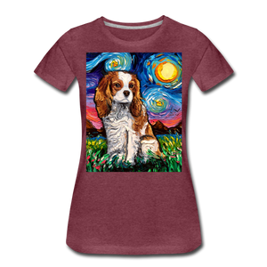 Blenheim Spaniel Night Women's Premium T-Shirt - heather burgundy