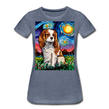 Load image into Gallery viewer, Blenheim Spaniel Night Women's Premium T-Shirt - heather blue