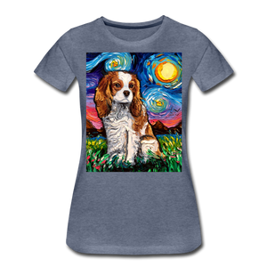 Blenheim Spaniel Night Women's Premium T-Shirt - heather blue