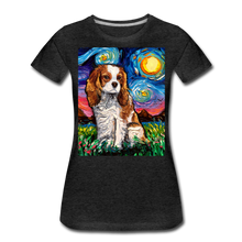 Load image into Gallery viewer, Blenheim Spaniel Night Women's Premium T-Shirt - charcoal gray