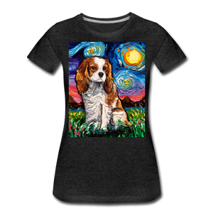 Blenheim Spaniel Night Women's Premium T-Shirt - charcoal gray