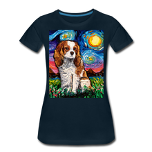 Load image into Gallery viewer, Blenheim Spaniel Night Women's Premium T-Shirt - deep navy