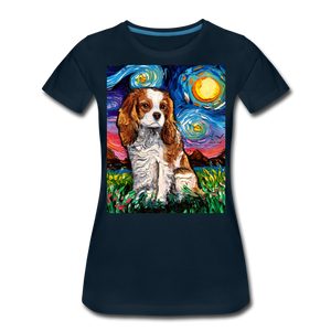 Blenheim Spaniel Night Women's Premium T-Shirt - deep navy