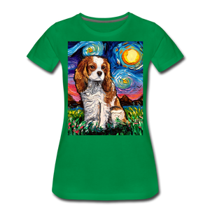 Blenheim Spaniel Night Women's Premium T-Shirt - kelly green