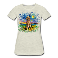 Goldendoodle with Sunflowers Splash Women's Premium T-Shirt - heather oatmeal