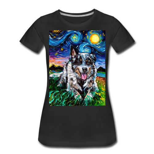 Australian Cattle Dog Night Women's Premium T-Shirt - black
