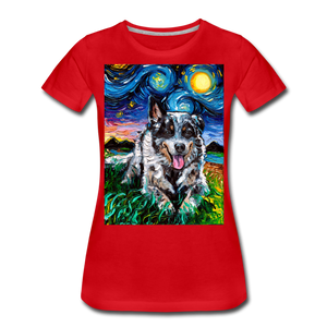 Australian Cattle Dog Night Women's Premium T-Shirt - red
