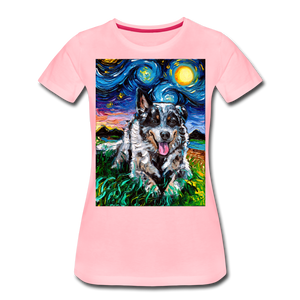 Australian Cattle Dog Night Women's Premium T-Shirt - pink