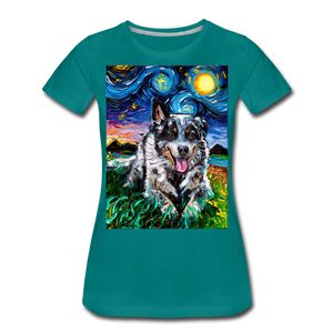 Australian Cattle Dog Night Women's Premium T-Shirt - teal