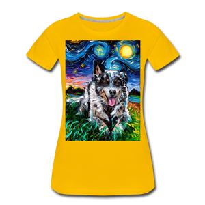 Australian Cattle Dog Night Women's Premium T-Shirt - sun yellow