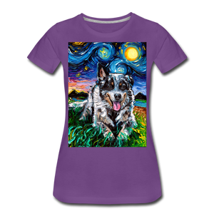 Australian Cattle Dog Night Women's Premium T-Shirt - purple