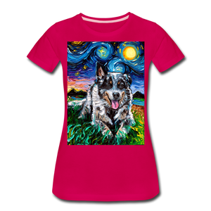 Australian Cattle Dog Night Women's Premium T-Shirt - dark pink