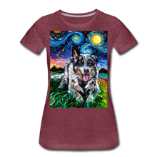 Load image into Gallery viewer, Australian Cattle Dog Night Women's Premium T-Shirt - heather burgundy