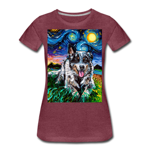 Australian Cattle Dog Night Women's Premium T-Shirt - heather burgundy