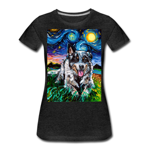 Australian Cattle Dog Night Women's Premium T-Shirt - charcoal gray