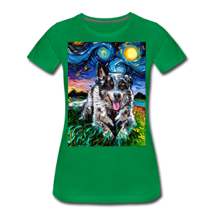 Australian Cattle Dog Night Women's Premium T-Shirt - kelly green