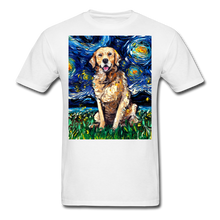Load image into Gallery viewer, Golden Retriever Night Unisex Classic T-Shirt - white