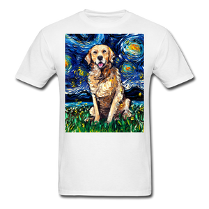Golden Retriever Night Unisex Classic T-Shirt - white
