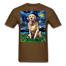Load image into Gallery viewer, Golden Retriever Night Unisex Classic T-Shirt - brown