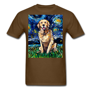 Golden Retriever Night Unisex Classic T-Shirt - brown