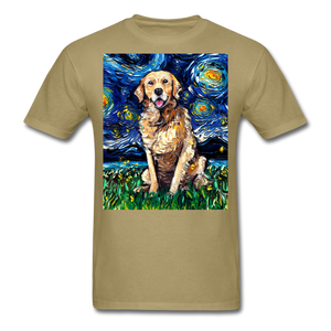 Golden Retriever Night Unisex Classic T-Shirt - khaki