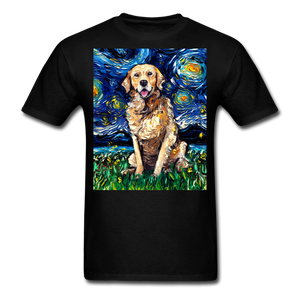 Golden Retriever Night Unisex Classic T-Shirt - black
