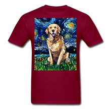 Load image into Gallery viewer, Golden Retriever Night Unisex Classic T-Shirt - burgundy