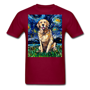 Golden Retriever Night Unisex Classic T-Shirt - burgundy