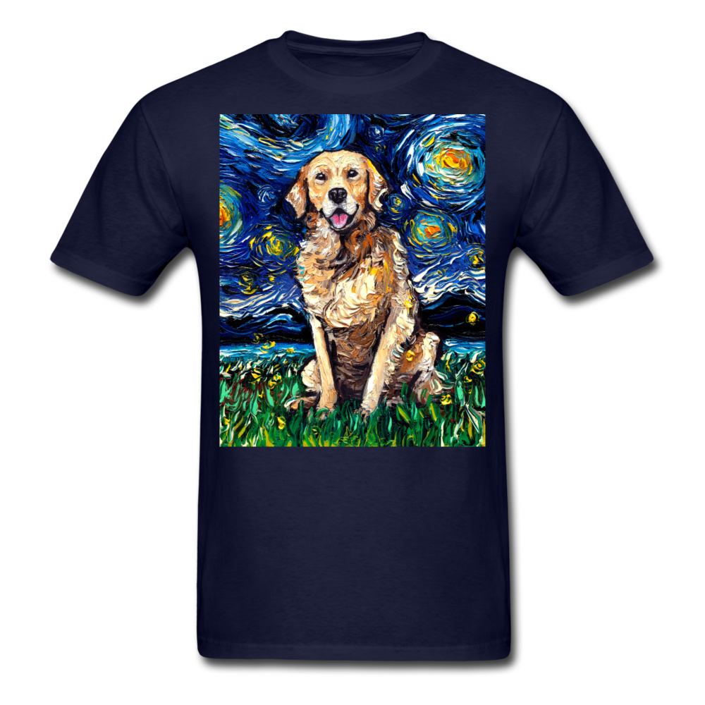 Golden Retriever Night Unisex Classic T-Shirt - navy