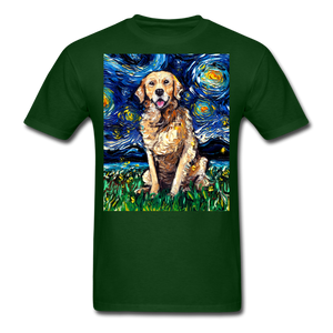 Golden Retriever Night Unisex Classic T-Shirt - forest green